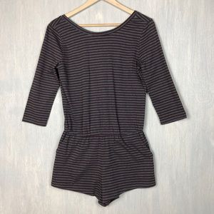 NWT BDG UO scoop back stripe romper S brown grey